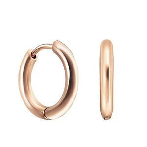 18ct Rose Gold Plated Smooth Huggies Medium Hoops