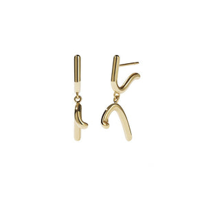 9ct Yellow Gold Sculpture Drop Earring