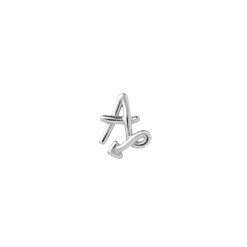Silver Single Initial Stud