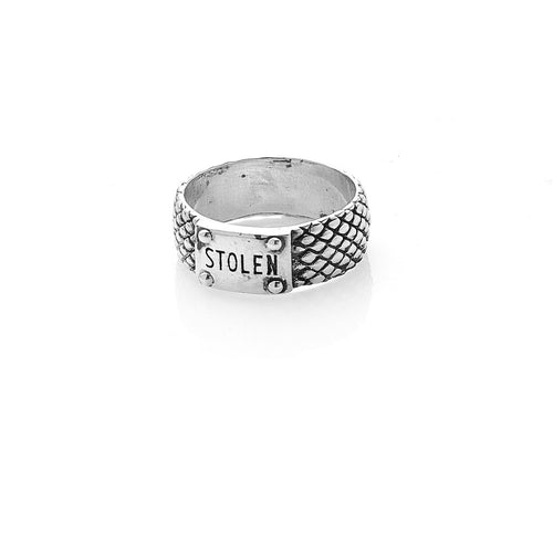 Silver Snake Band Ring - Slim