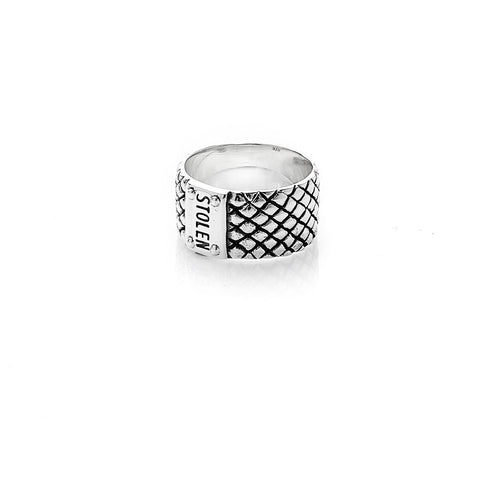 Silver Snake Band Ring - Wide