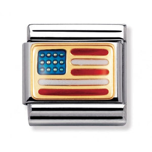 Stainless Steel Enamel 18ct Gold USA Flag Link