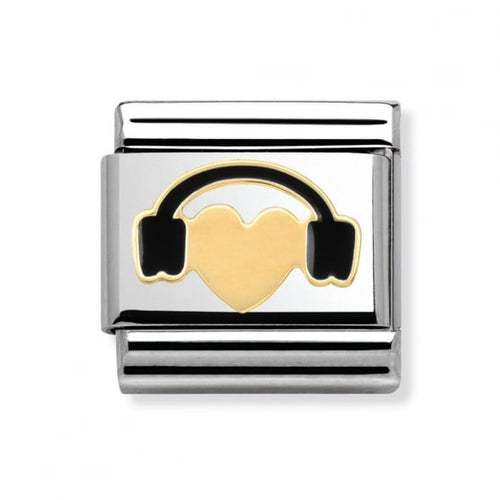 Stainless Steel Enamel and 18ct Gold Heart with Headsphones Link
