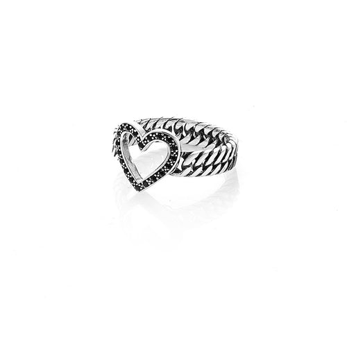 Silver Onyx Stoned Heart Ring