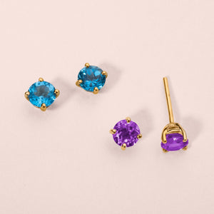 9ct Yellow Gold Blue Topaz Stud Earring 4mm