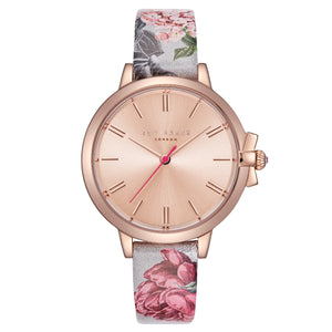 Ruth Rose Gold Dial Grey Floral Watch