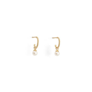 Gold Plated Tiny Pearl Hoop Earrings