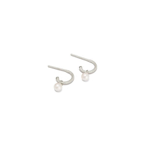 Silver Tiny Pearl Hoop Earrings
