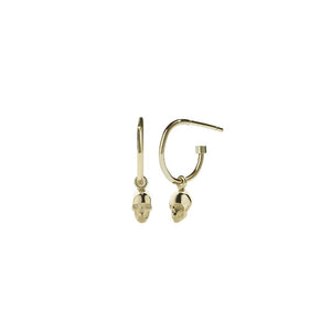 9ct Yellow Gold Micro Skull Signature Hoop - Pair
