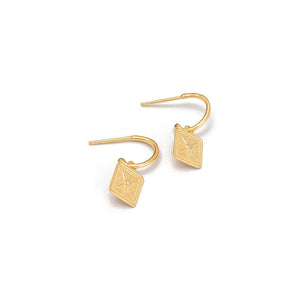 Gold Plated True North Hoop Earrings