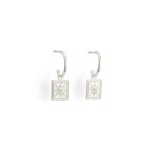 Silver True North Hoop Earrings