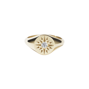 Gold Plated Ursa Signet Ring - Diamond