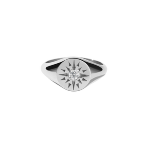 Silver Ursa Signet Ring - Diamond