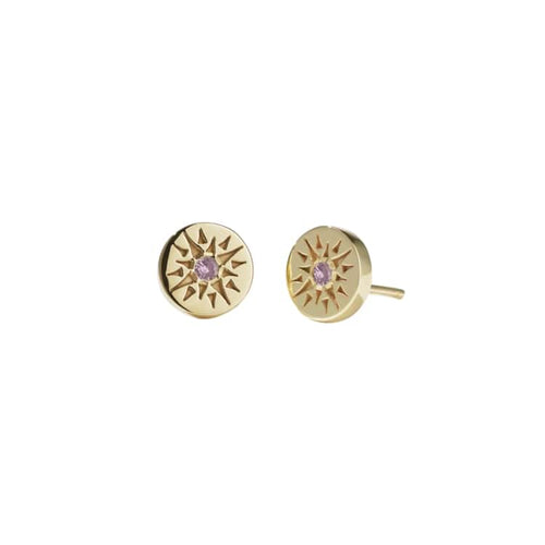 Gold Plated Ursa Pink Tourmaline Studs