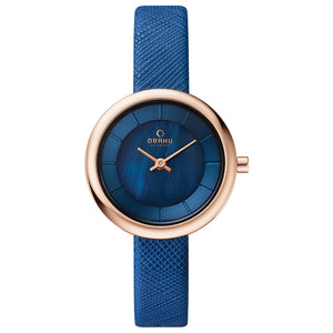 Rose Gold Tone with Blue Mother of Pearl Dial - Stille Navy Watch