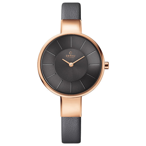 Rose Gold Tone with Grey Dial - Sol Pebble Watch