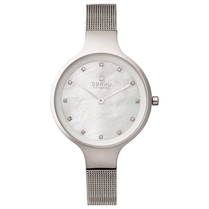 Steel Mesh with White Mother of Pearl Dial - Sky Steel Watch