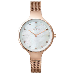 Rose Gold Tone Mesh with White Mother of Pearl Dial - Sky Rose Watch