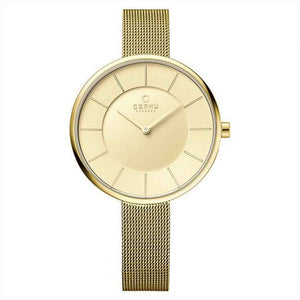 Gold Tone Mesh with White Dial - Sand Gold Watch