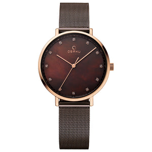Brown Mesh with Mother of Pearl Dial - Vest Walnut Watch