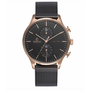 Rose Gold Tone Dual Time Mens - Gran Night Watch