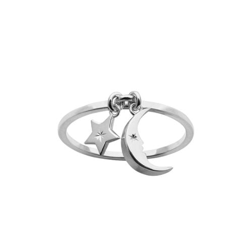 Karen Walker Silver Moon and Star Charm Ring