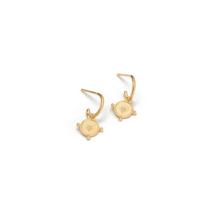 Gold Plated Voyager Coin Hoop Earrings