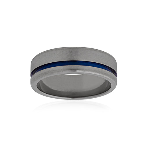 Titanium Band with Blue Groove 7mm