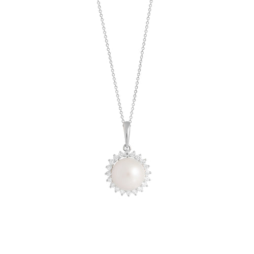 9ct White Gold Dhalia Pearl Diamond Pendant