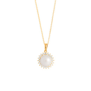 9ct Yellow Gold Dhalia Pearl Diamond Pendant