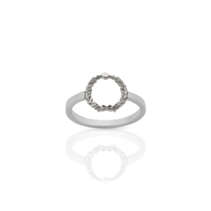 Silver Wreath Stacker Ring