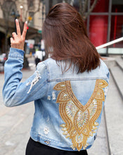 Load image into Gallery viewer, Shree Embellished Denim Jacket