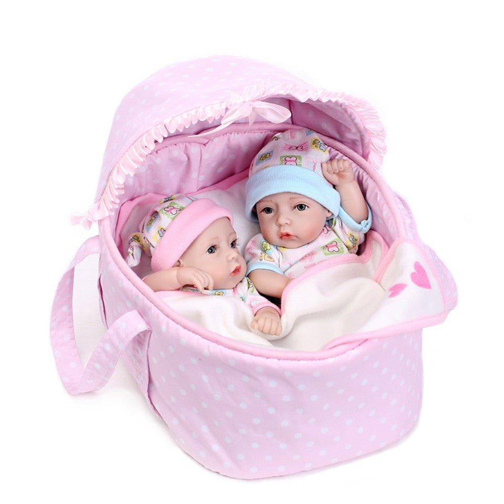10inch 25cm Reborn Baby Doll Twins Full Silicone Princess Doll Baby Bath Toy With Clothes Lifelike Cute Gifts Toy