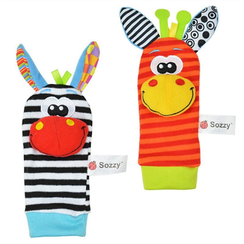 2pcs Cute Animal Baby Infant Wrists Rattle Developmental Educational Soft Rattle Toy for Infant Baby