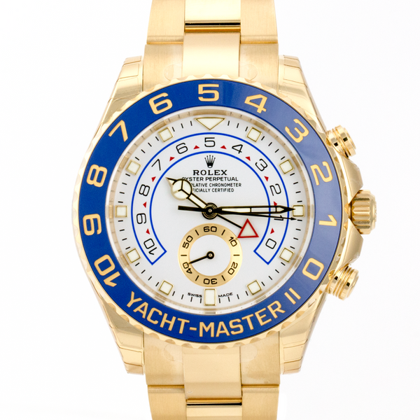 Men's Rolex Yacht-Master II 116688 44mm Yellow Gold Watch White Dial Blue Insert - LSM WATCH
