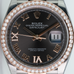 Rolex Watch Mens Datejust 126281 Steel & Rose Gold Dark Rhodium Roman w Diamonds - LSM WATCH