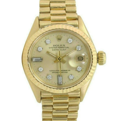 Pre-Owned Rolex Lady Datejust 6917 26mm Gold Watch Champagne Diamond Dial Fluted Bezel - LSM WATCH