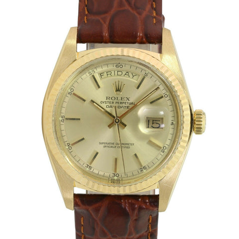 Pre-Owned Men's Rolex Day-Date 1803 36mm Two-Tone Watch Champagne Index Dial Fluted Bezel Brown Leather - LSM WATCH