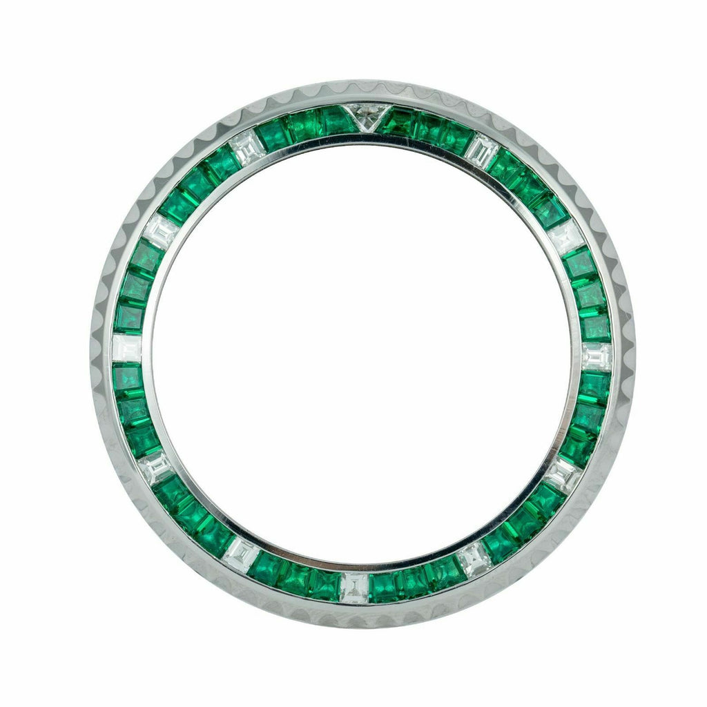 Custom Rolex Stainless Steel Emerald and Diamond Bezel for Sports Watches - LSM WATCH
