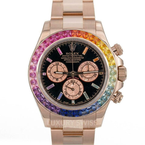 Unworn Rolex Daytona 116505 40mm Rose Gold w Black Dial Rainbow Markers / Bezel - LSM WATCH