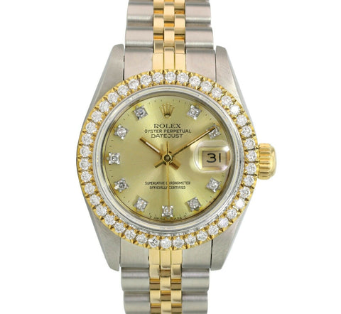 Rolex Lady Datejust Two-tone 26mm Original Champagne Diamond & U-Bezel Watch - LSM WATCH