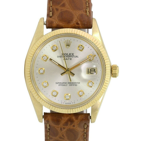 Rolex Men's 14K Gold Oyster Date 1503 Automatic Silver Diamond Dial Watch - LSM WATCH