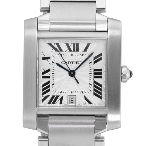 Cartier Unisex Tank Française 2302 Steel Watch White Roman Dial 28mm x 32mm - LSM WATCH