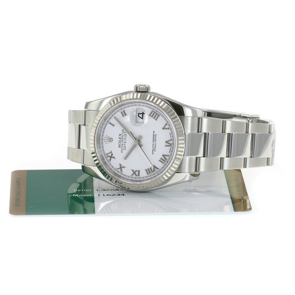 Pre-owned Rolex Datejust Stainless Steel White Roman 116234