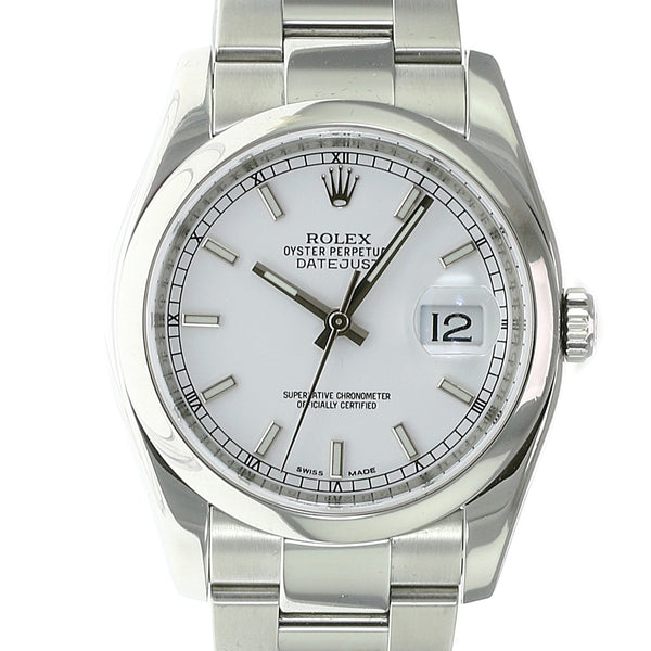 Pre-owned Rolex Datejust Stainless White Index 116200