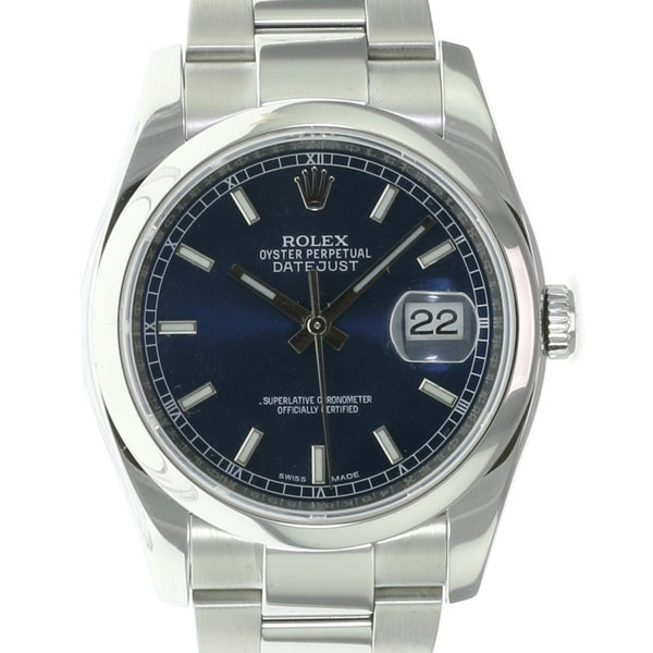 Pre-owned Rolex Datejust Stainless Blue White Index 116200