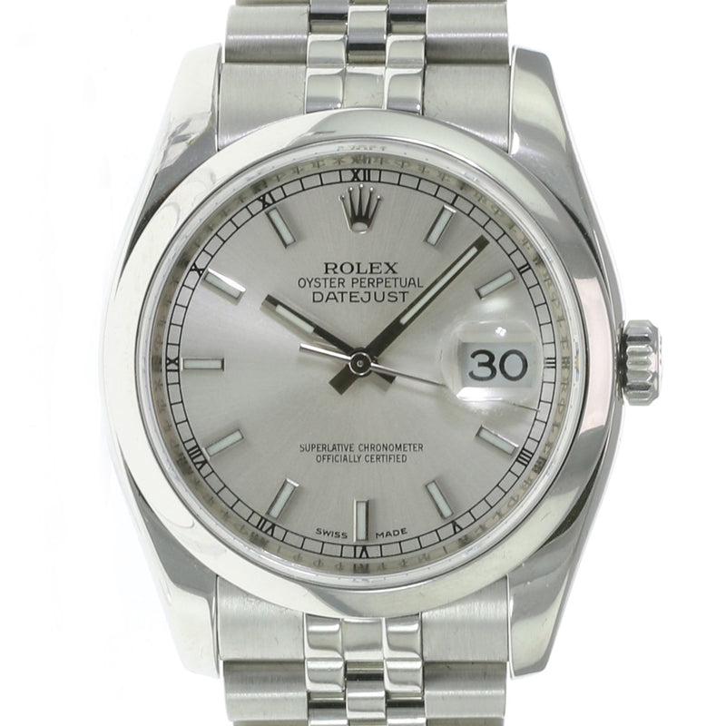Pre-owned Rolex Datejust Stainless Steel Silver Index 116200