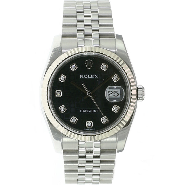Pre-owned Rolex Datejust Stainless Steel Black Jubilee Diamond 116234