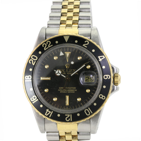 Rolex GMT-Master 1675 Two-Tone Black Nipple Dial w/ Black Insert Watch - LSM WATCH