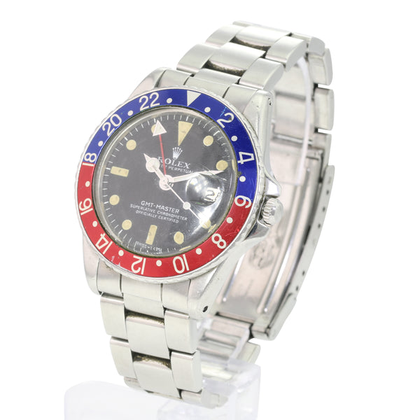Rolex GMT-Master 1675 SS Matte Black Luminous Dial Pepsi Insert - LSM WATCH